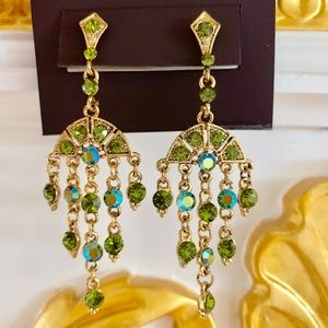 🔴🔴🆕Dangle Crystal Green Gold Earring Christmas